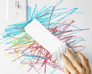 Remove crayon marks off wall