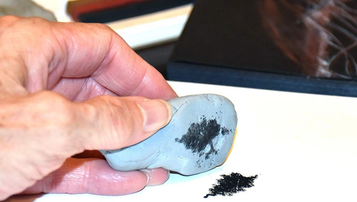 Black patches on kneaded eraser