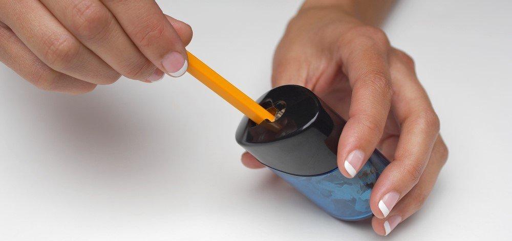 Use hand crank pencil sharpener