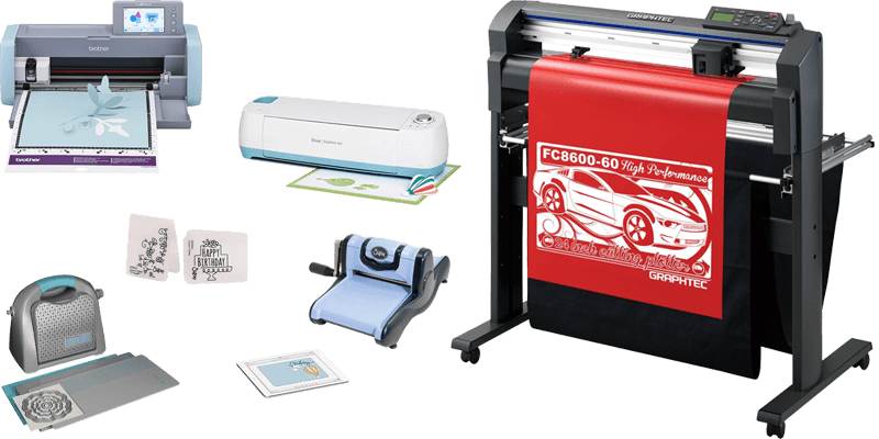 Die cut machines for cutting vinyl, paper and fabric