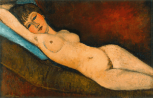 Reclining Nude with Blue Cushion by Amedeo Modigliani