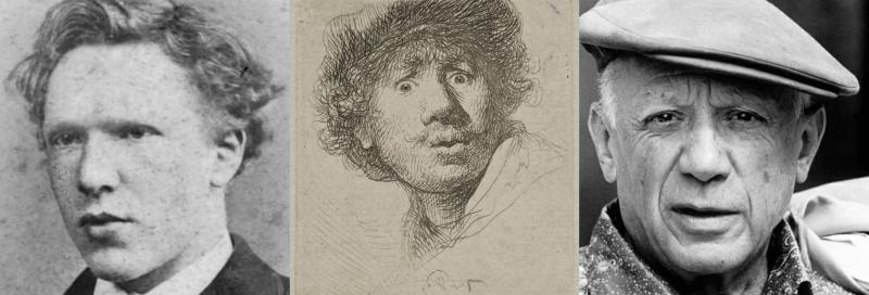 Van Gogh, Rembrandt, Picasso