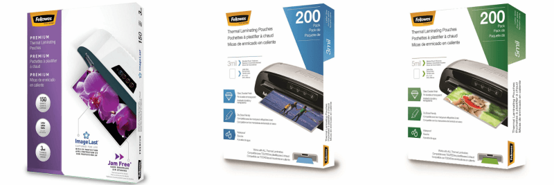 Fellowes pouches for laminating